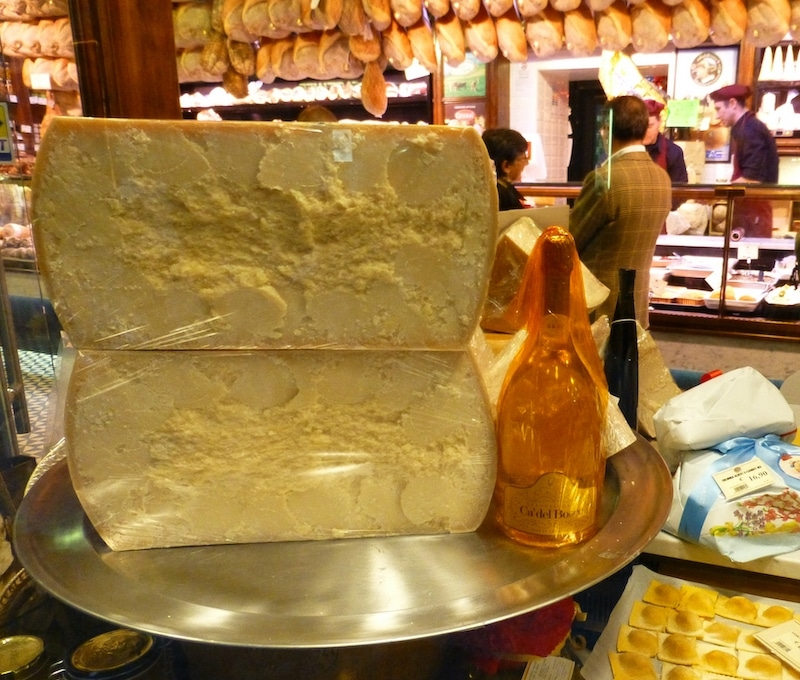 Wedges of cheese at Parma's La Prosciutteria