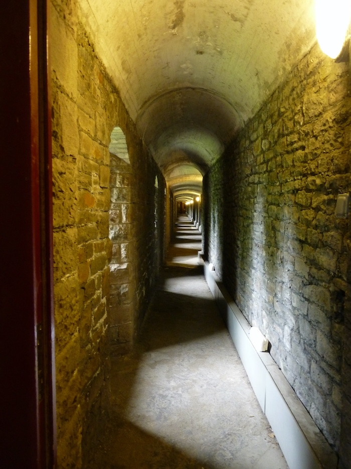 Long hall in Bomb Shelter, Cardiff Castle