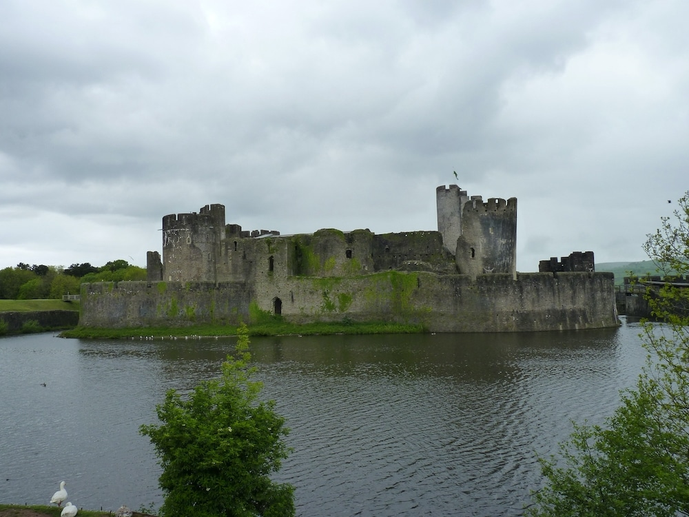 Moat surrounding Caerphilly Castle