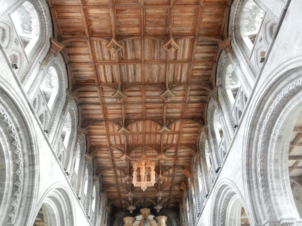 Elaborate wooden ceiling at St. David's Cathedral