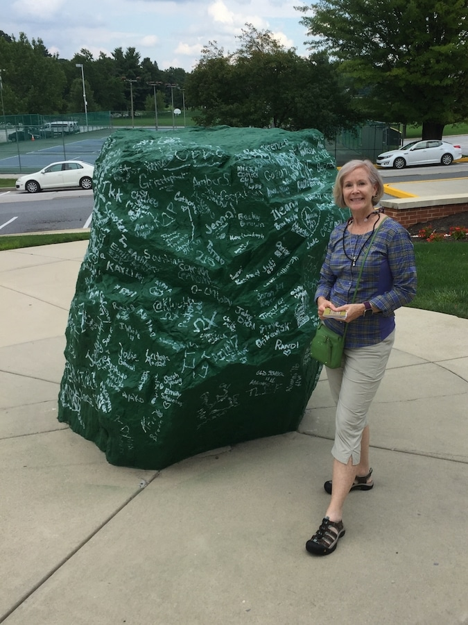 York College of Pennsylvania's Green Rock, covered with signatures of graduates