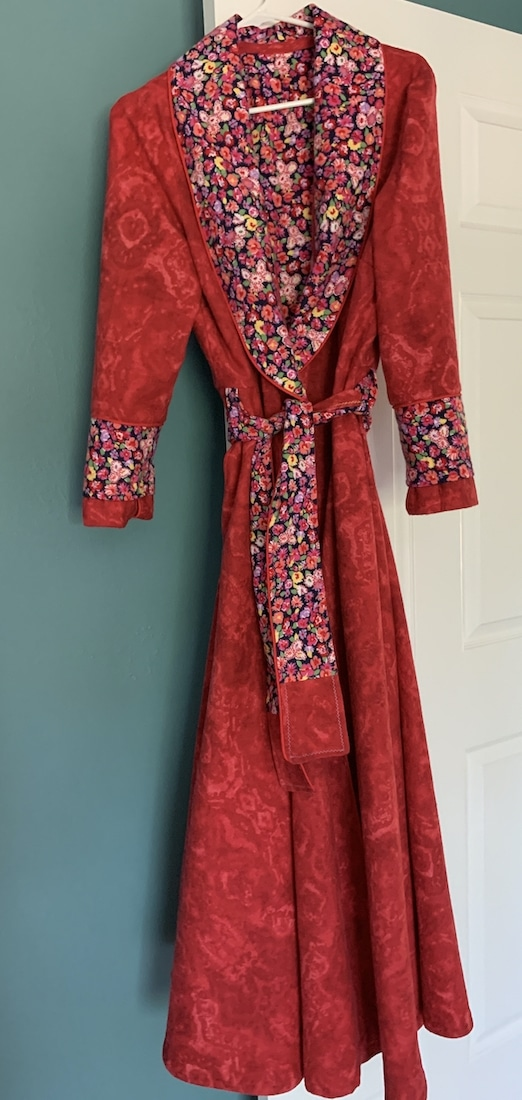 Red flannel floral robe sewn by the author