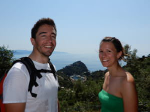 Lorenzo & Silena on Portofino trail to San Fruttuoso, Italy