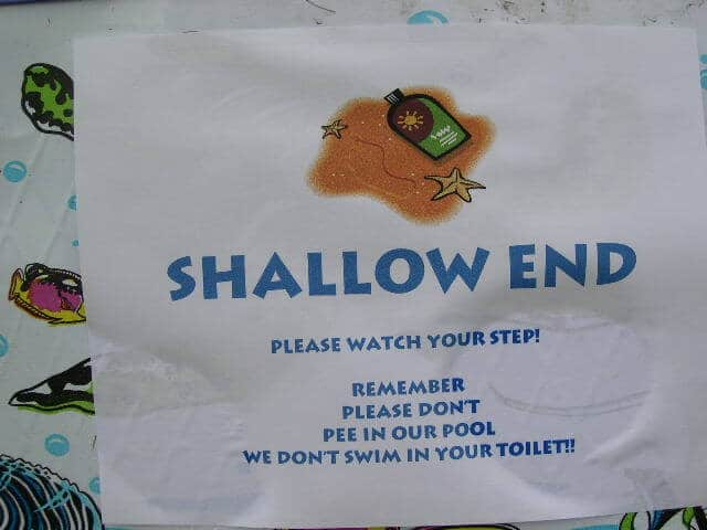 """Sign on kiddie pool, """"Shallow End"""""""