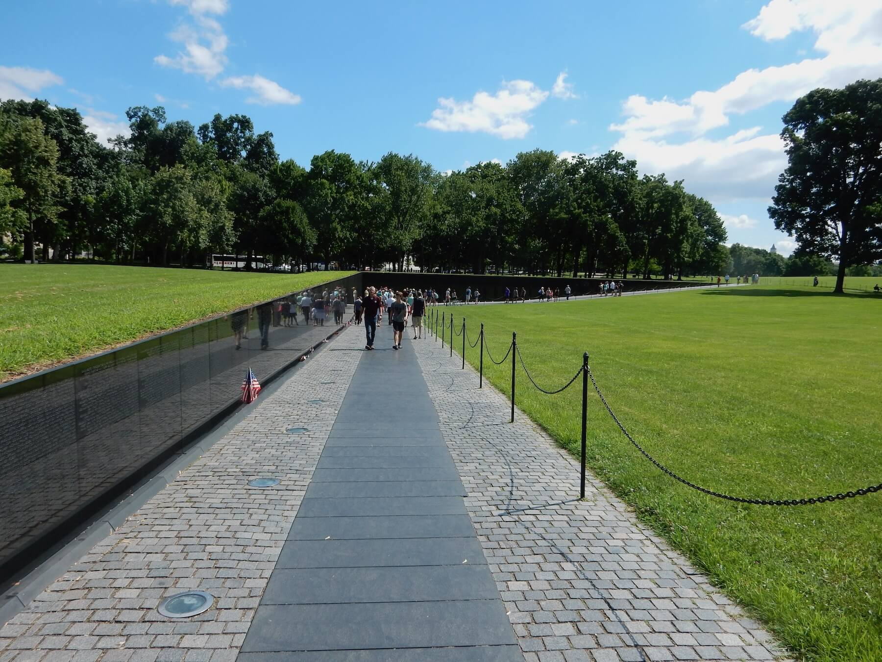 Approaching the Vietnam Wall Memorial