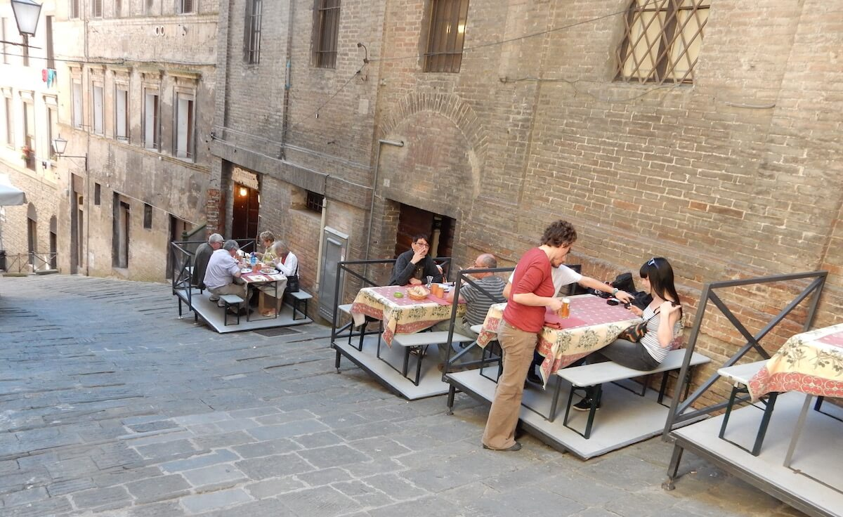 Tiered dining in Siena