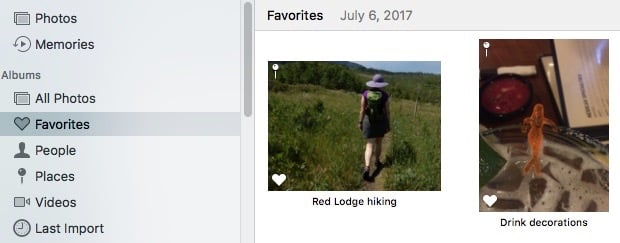 Using Favorites in Apple's Photo program