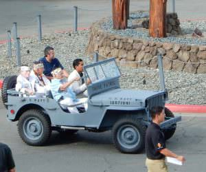 Arriving in vintage Jeep
