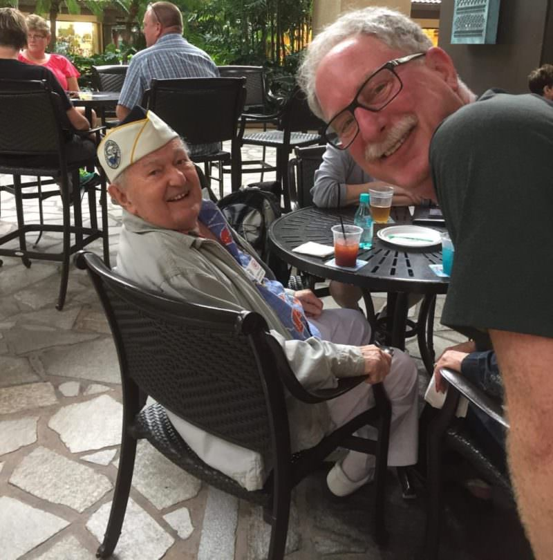 My husband thanking a Veteran with a great smile.